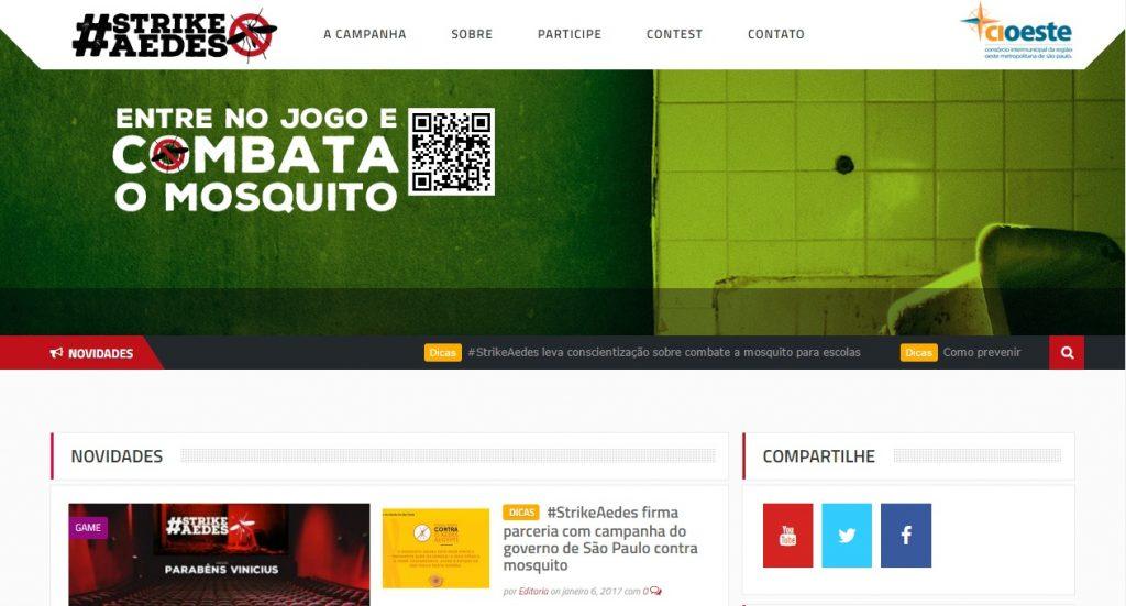 Homepage do hotsite da campanha.
