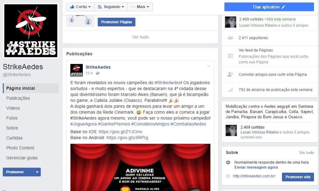 Página da campanha no Facebook.