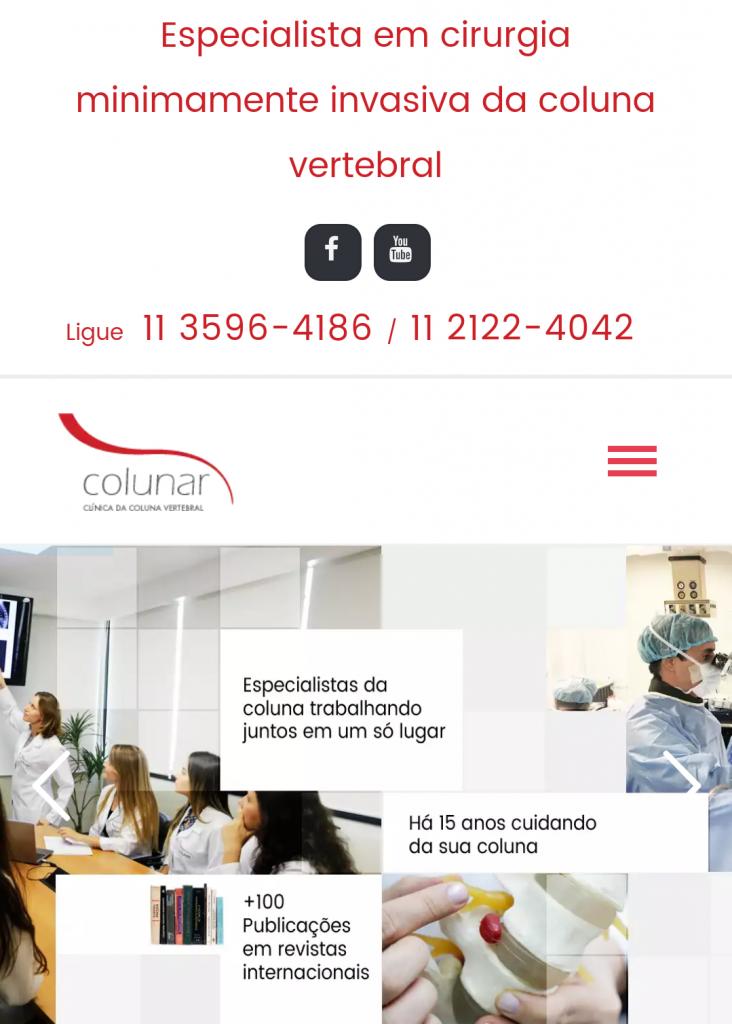 Website da Colunar acessado via smartphone.
