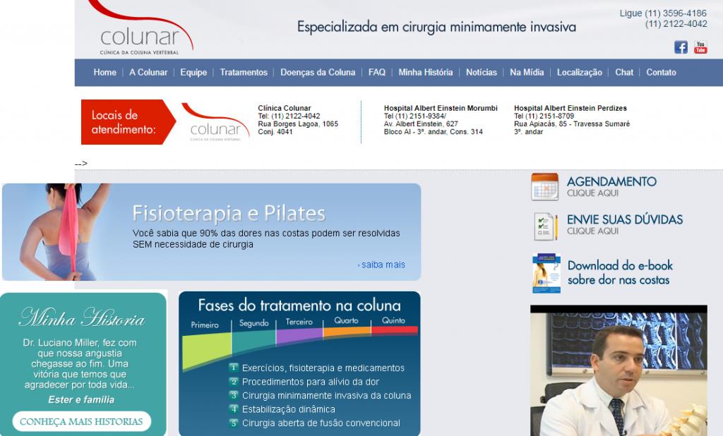 Antigo website da clínica.