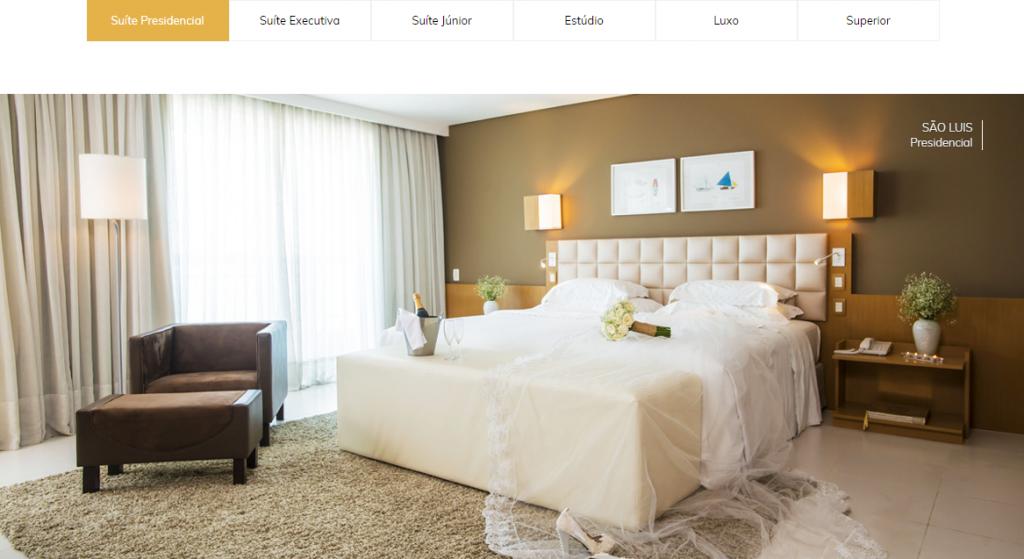 Site apresenta detalhes sobre acomodações dos hotéis.